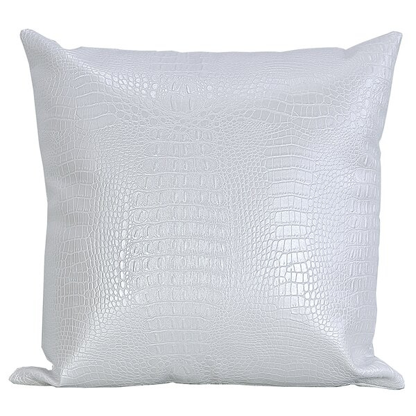 Crocodile-Textured Faux Leather Throw Pillow by Bijou Coverings