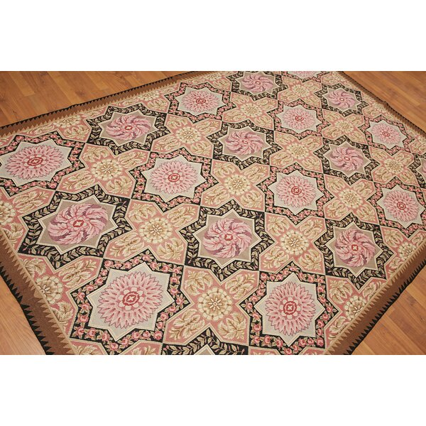 One-of-a-Kind Gerhardine Needlepoint Hand-Woven Pink/Beige/Brown Area Rug by Astoria Grand