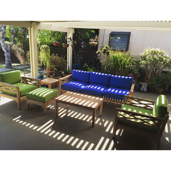 Lorenzo 6 Piece Teak Sunbrella Sofa Set with Cushions by Longshore Tides