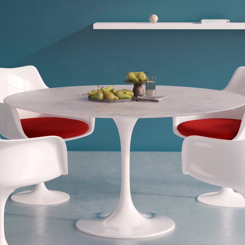 Langley Street Larkson Carrara Marble Dining Table Wayfair