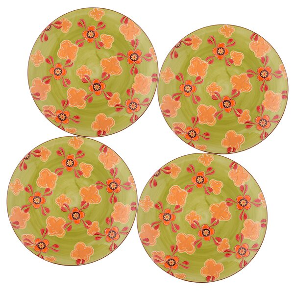 Ostlund 8 Salad Plate Set Green Yellow Floral Set (Set of 4) by Bungalow Rose