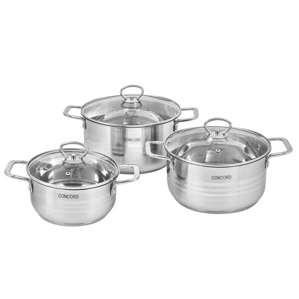3 Piece Stainless Steel Round Dutch Oven Set by Concord Cookware