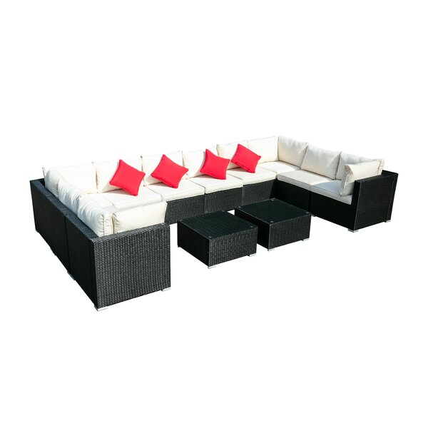 Oahu 12 Piece Rattan Sectional Seating Group with Cushions by Latitude Run