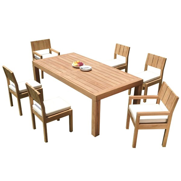 Nathen 7 Piece Teak Dining Set by Rosecliff Heights