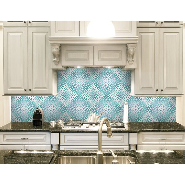 Urban Essentials Scatter 3/4 x 3/4 Glass Glossy Mosaic in Deep Teal by Mosaic Loft
