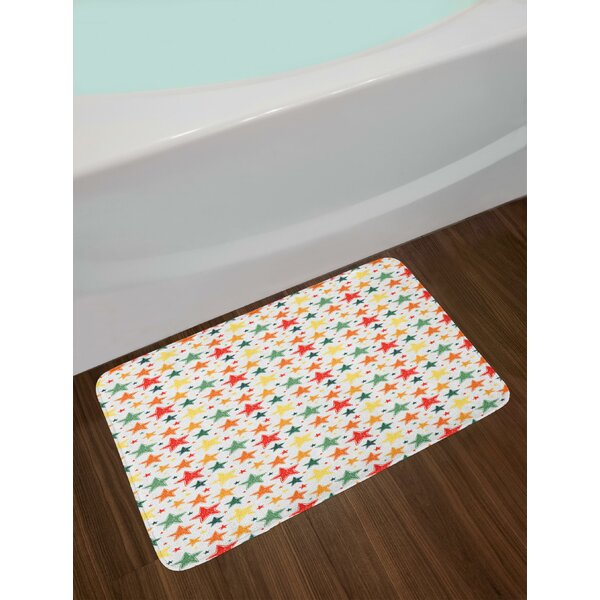 Checkered Grid Style Background with Hand Drawn Colorful Five Pointed Star Doodles Bath Rug by East Urban Home