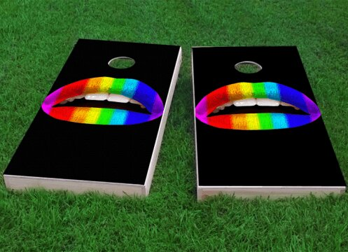 Gay Pride Rainbow Lips Cornhole Game (Set of 2) by Custom Cornhole Boards