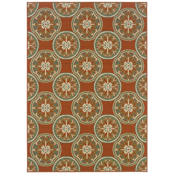 Newfield Orange/Ivory Indoor/Outdoor Area Rug by Threadbind