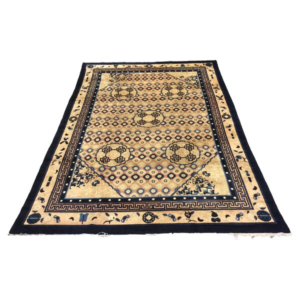 One-of-a-Kind Bellanger Chinese Peking Art Deco Hand-Knotted Wool Ivory Blue Area Rug by Bloomsbury Market