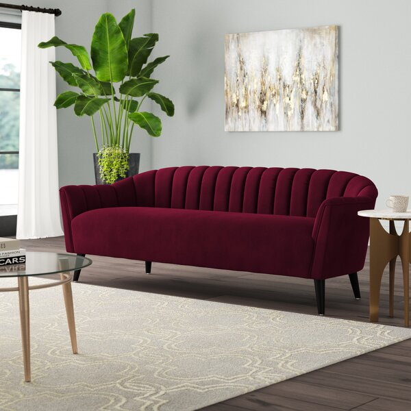 Manseau Velvet 30 Inches Flared Arms Sofa By Mercer41