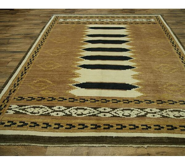 One-of-a-Kind Bovill Gabbeh Pakistan Oriental Hand-Knotted Wool Beige/Ivory Area Rug by Canora Grey