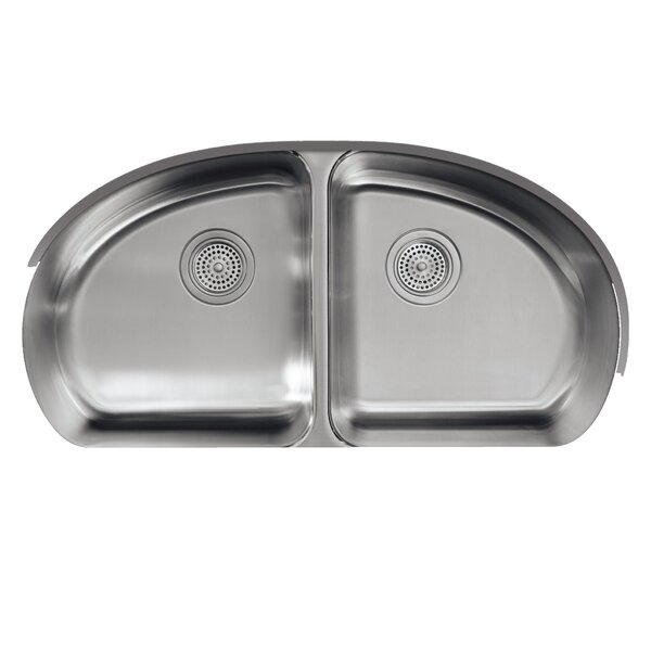 Undertone 34-9/16 L x 18-1/2 W x 9-1/2 Under-Mount Double-Equal Bowl Kitchen Sink by Kohler