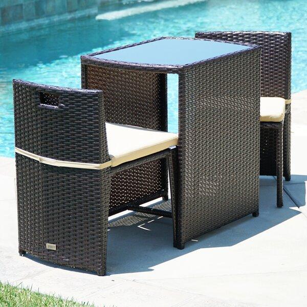 ebern designs kendal patio furniture wicker 3 piece bistro set w glass top table 2 chairs uv cushion brown u0026 reviews wayfair