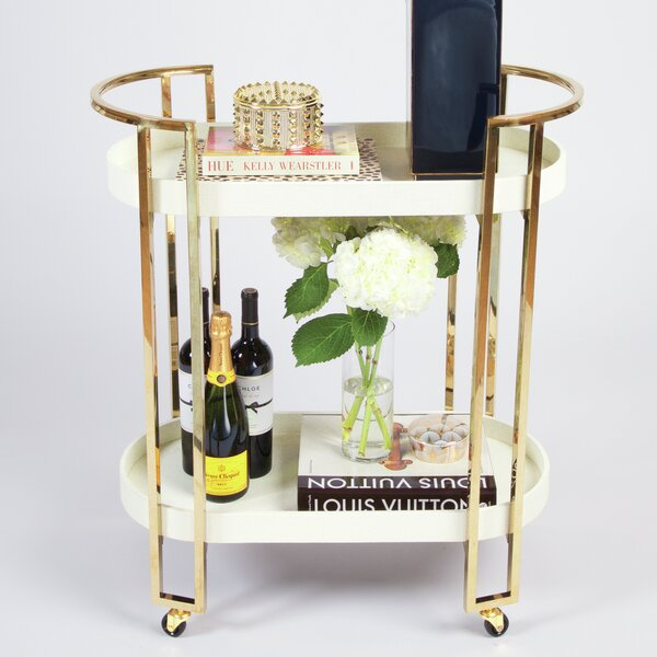 Shultz Oval Bar Cart by Everly Quinn