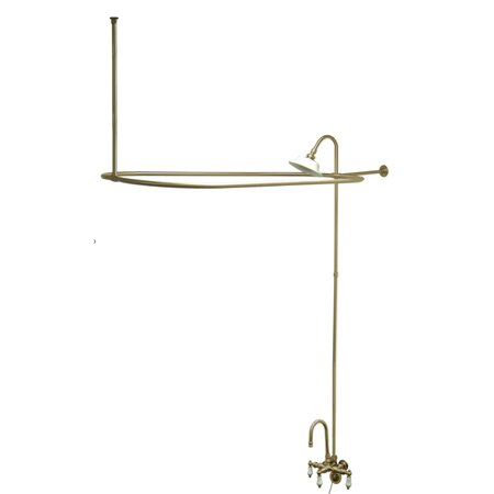 Vintage Triple Handle Wall Mount Gooseneck Clawfoot Tub Faucet Package by Kingston Brass