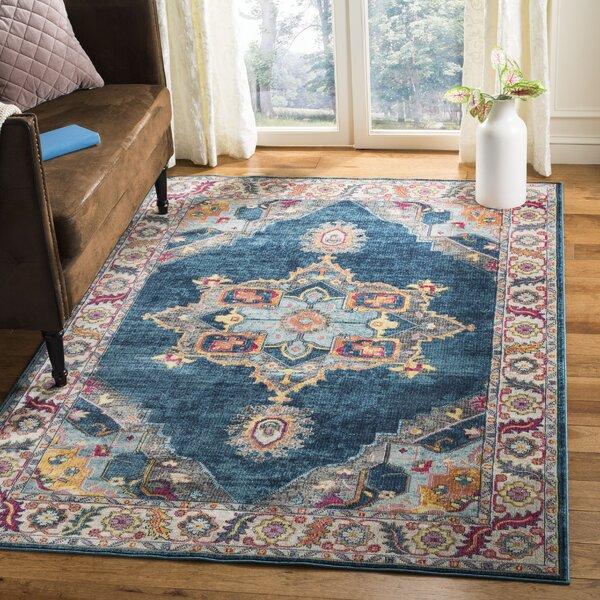 Doucet Blue/Orange Area Rug by Bungalow Rose