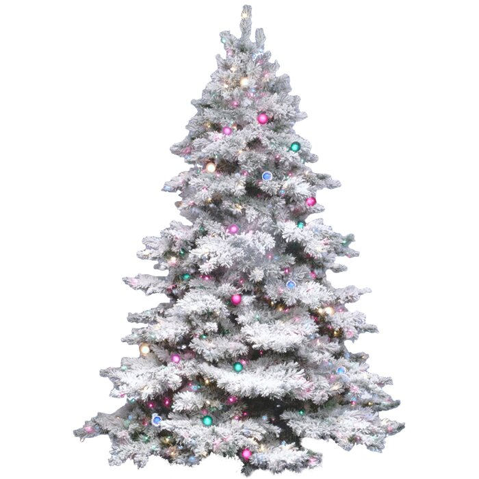 flocked alaskan 45 white artificial christmas tree with 300 dura lit multi colored - White Fake Christmas Trees