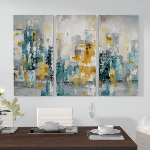City Views Ii Acrylic Painting Print Multi Piece Image On Gallery Wrapped Canvas By George Oliver.