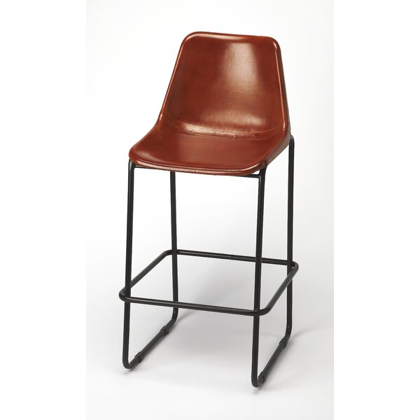 Adelbert Leather 28 Bar Stool by 17 Stories