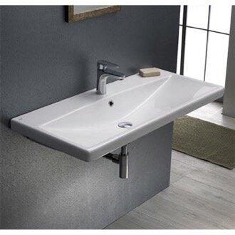 Elite Ceramic Rectangular Drop-In Bathroom Sink with Overflow by CeraStyle by Nameeks