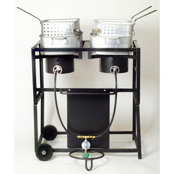 Two Burner Outdoor Cooking Cart Package with Two Rectangular Pots with Baskets by King Kooker