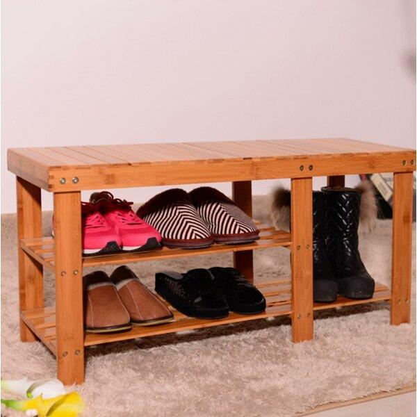 Strip Pattern Tiers Bamboo 6 Pair Shoe Storage Bench