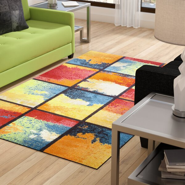 Vaughn Painted Cubes Red/Blue Area Rug by Ebern Designs