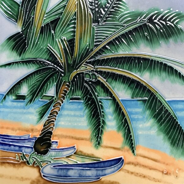 Palm with Boats Tile Wall Decor by Continental Art Center
