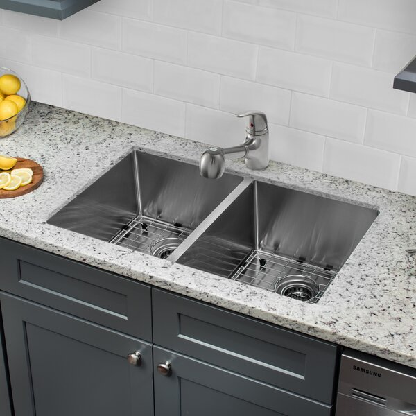Radius 16 Gauge Stainless Steel 32'' x 19''  50/50 Double Bowl Undermount Kitchen Sink with Faucet and Soap Dispenser by Soleil