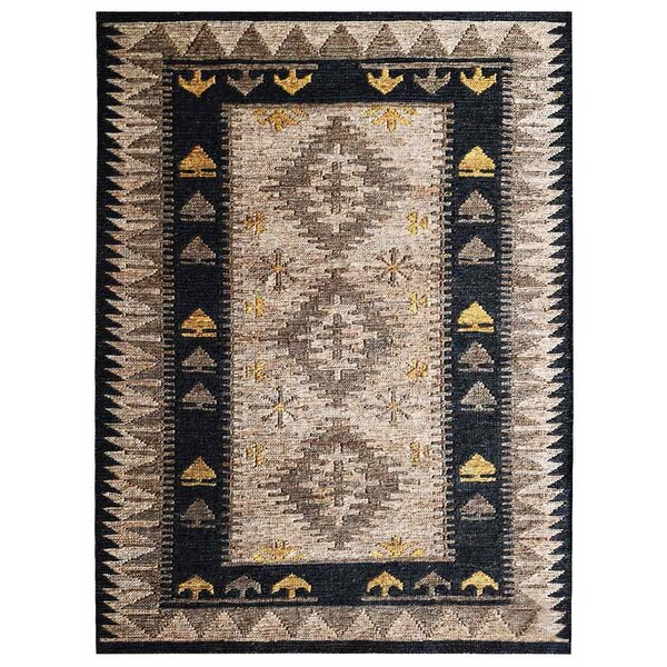 St Catherine Hand-Knotted Yellow/Cream/Black Indoor/Outdoor Area Rug by Millwood Pines