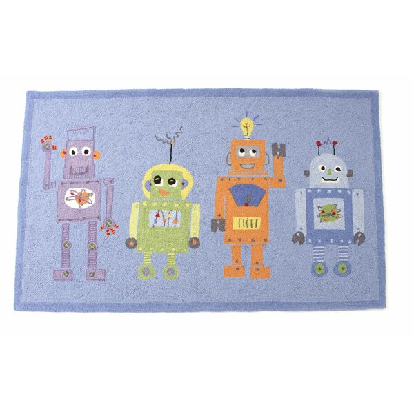 4 Robots Hand Hooked Wool Blue Area Rug By The Little Acorn.