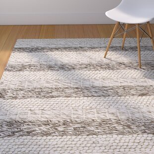 Best Price Creswell Hand-Tufted Wool Gray/White Landscape Area Rug By Mercury Row