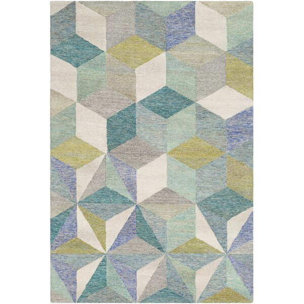 Canady Geometric Hand Hooked Wool Teal Area Rug by George Oliver