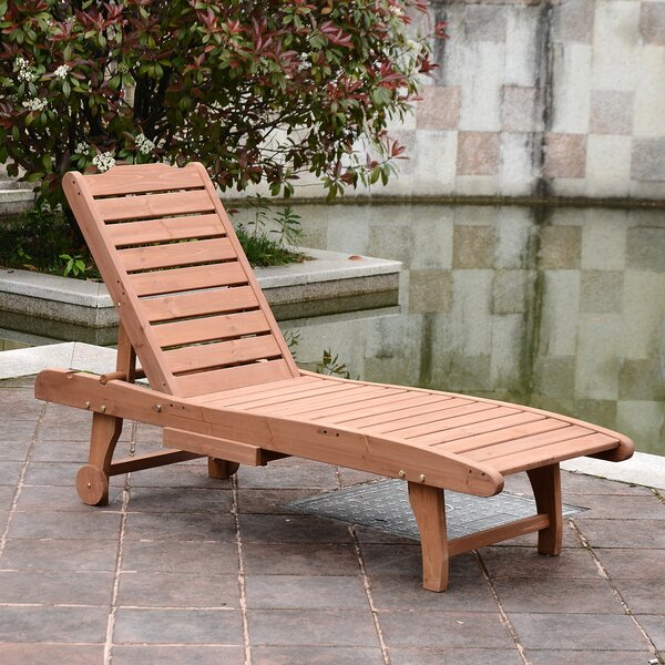 Thach Wooden Outdoor Reclining Chaise Lounge