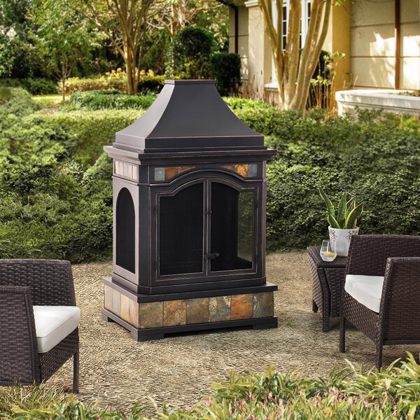 Monroe Steel Wood Burning Outdoor Fireplace by Sunjoy