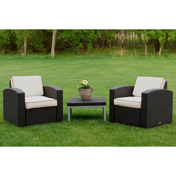 Loggins 3 Piece Rattan Seating Group with Cushions by Brayden Studio
