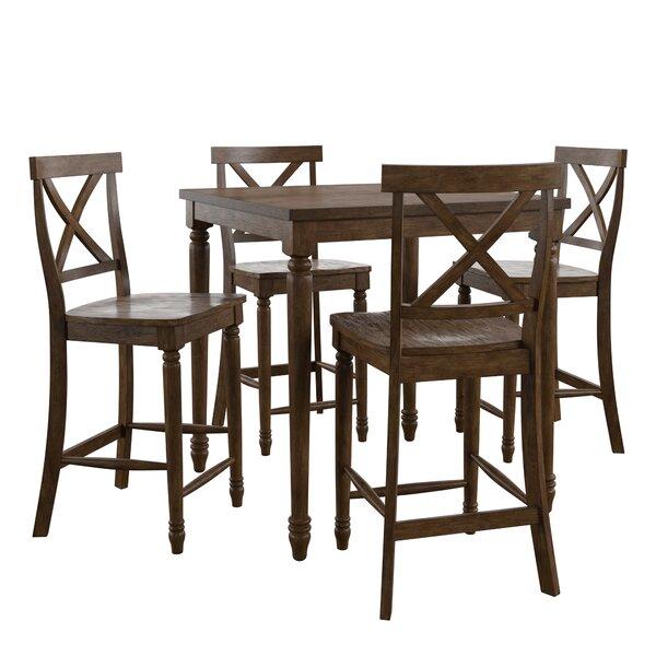 Butte Reclaimed Wood 5 Piece Pub Table Set by Alcott Hill