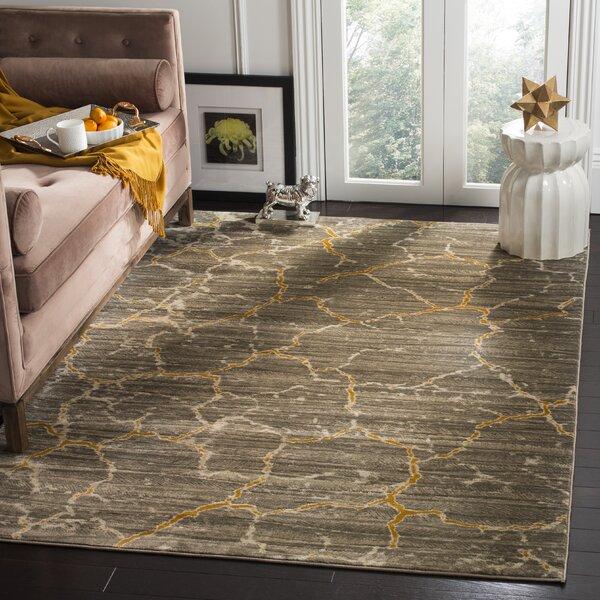 Sorrentino Dark grey/Yellow Area Rug by Wrought Studio