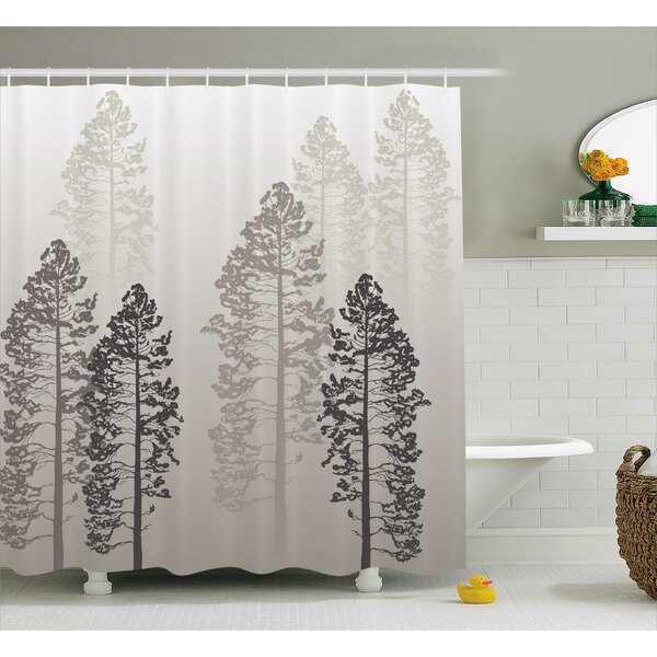 Fall Tree Decor Woven Shower Curtain by East Urban Home