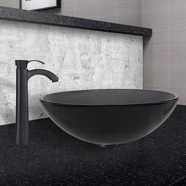 Glass Circular Vessel Bathroom Sink with Faucet by VIGO