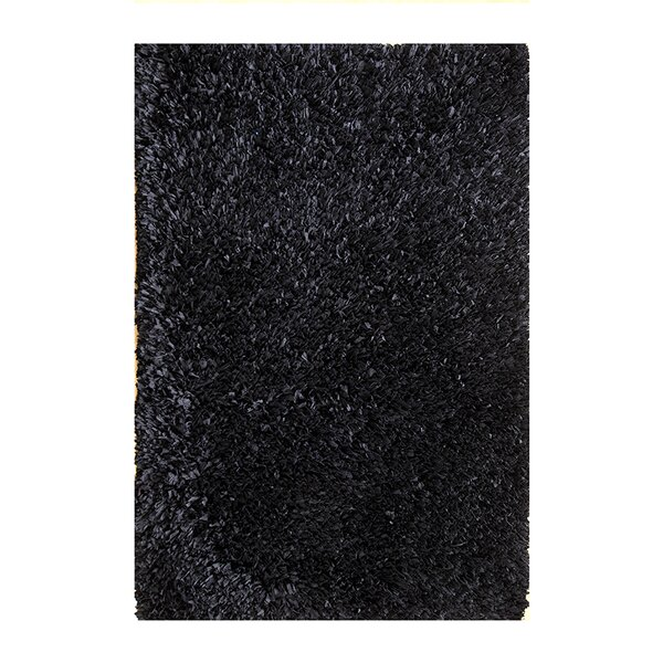 Hand Woven Shag Black Area Rug by Affinity Linens