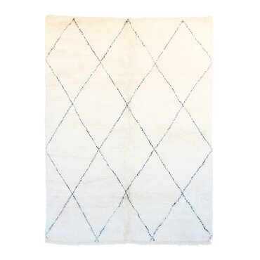 beni ourain moroccan hand knotted wool creamblack area rug
