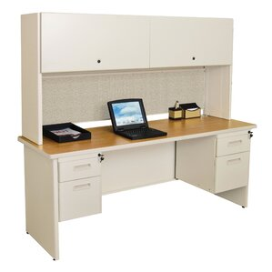 pronto with double file and flipper door cabinet computer desk with hutch