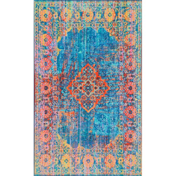 Darren Blue/Yellow Area Rug by Bungalow Rose