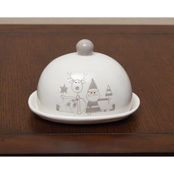 Holiday Santa and Reindeer Ceramic Covered Platter by ZiaBella