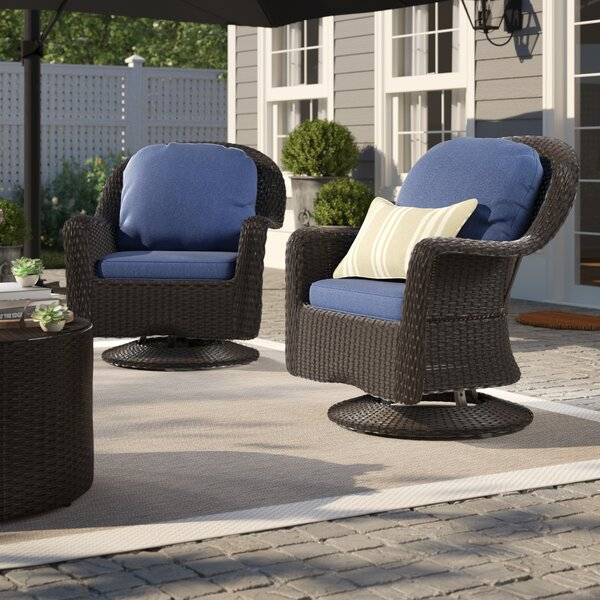 Dearing Modern Outdoor Wicker Swivel Club Patio Chair With Cushions (Set Of 2) By Birch Lane™ Heritage