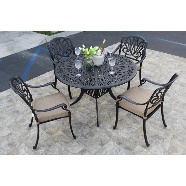 Wasola 5 Piece Dining Set with Sunbrella Cushions by Fleur De Lis Living
