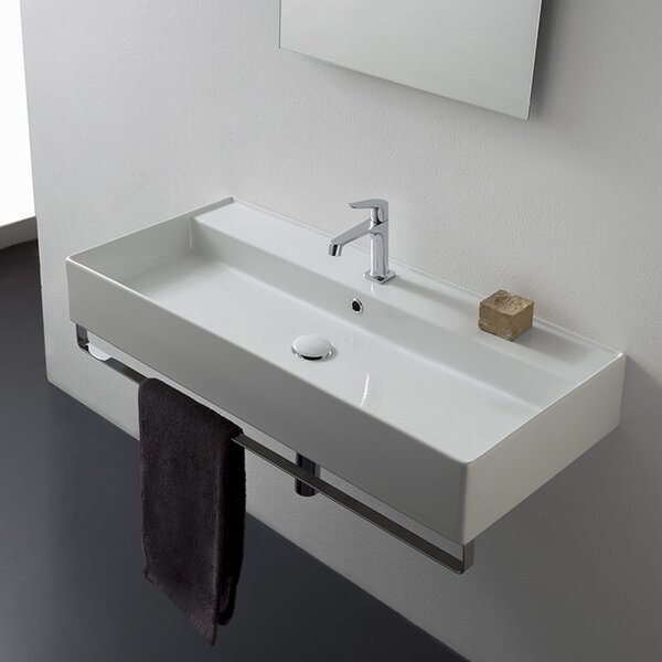 Teorema Ceramic 40 Wall Mount Bathroom Sink with Overflow by Scarabeo by Nameeks