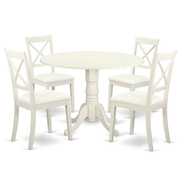 Spruill 5 Piece Drop Leaf Solid Wood Dining Set by August Grove August Grove