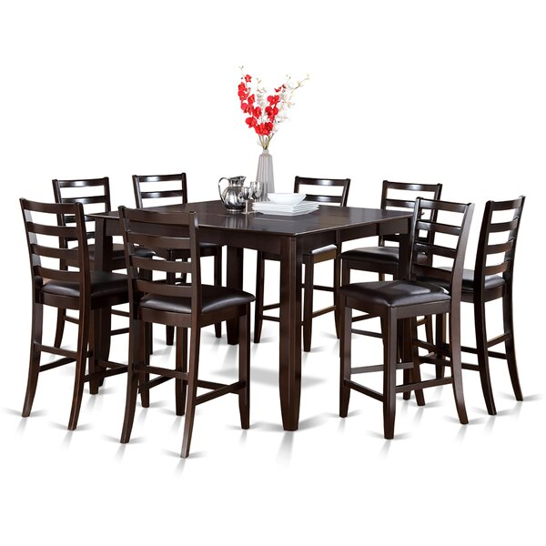 Krull 9 Piece Counter Height Extendable Solid Wood Dining Set by Red Barrel Studio Red Barrel Studio